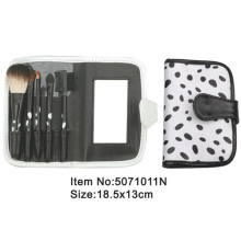 5pcs portable black plastic handle animal.nylon hair makeup brush set with mirrored printed canvas fold case