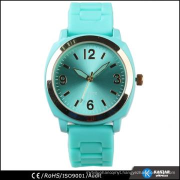 silicone quartz watch square case, stainless steel case back watch quartz