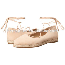 Ladies Fancy Espadrille Shoes 2016 alta qualidade Mulheres tornozelo Wrap Flat Shoe