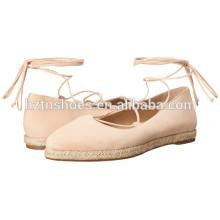 Женская Обувь Espadrille дамы 2016 Высокое качество Женщин Голеностопа Wrap Flat Shoe