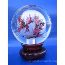 Cristal de vidrio de grabado bola de pintura para la decoración y regalos