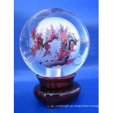 Esfera de pintura de gravura de cristal para decoração e presentes