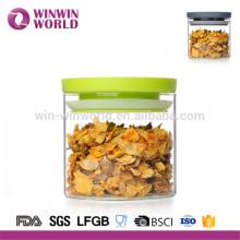 Bocal en verre de stockage de nourriture en gros avec le couvercle en plastique vert