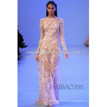 Primavera 2014 Sexy Veja Através do Vestido de Casamento Jóia Pescoço Long Sleeve Vestido de noiva com bainha de Applique de renda completa NB041