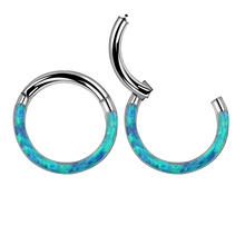 Popular ASTM F136 Titanium Opal Hinged Nose Ring Earring Body Piercing Jewelry