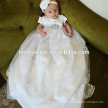 Exquisite Europa Estilo Branco Rendas Bênção Bênção Princesa Aniversário Meninas Vestidos de Batismo para o Pageant