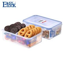 2 Contenedor de alimentos de plástico dividido en microondas de dos compartimientos con cerradura