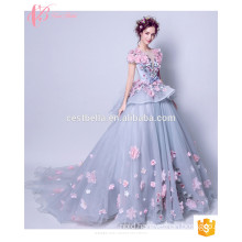 Alibaba Suzhou Very Sexy Appliqued Long Cinderella Ball Gown Evening Dress 2017