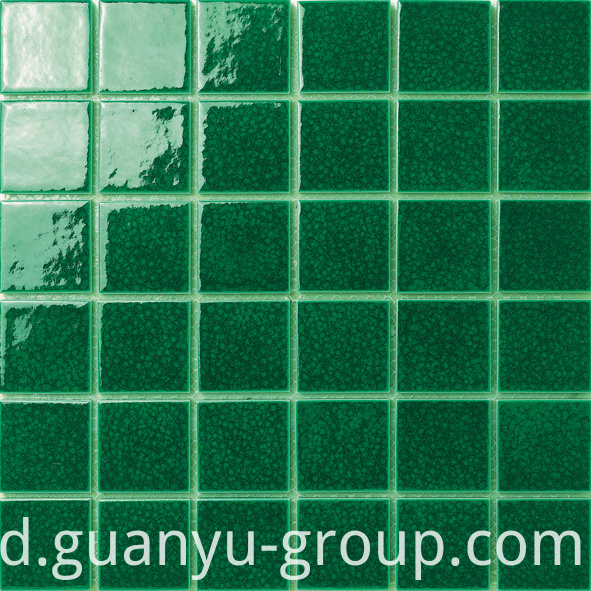Pure Green Color Glazed Surface Pool Paving Mosaic Tile