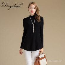 Nuevo color negro del suéter de lana de las señoras del diseño de la nueva manera 2018 con el mejor precio