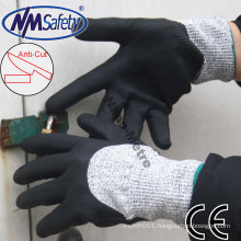 NMSAFETY 13 gauge HPPE liner foam nitrile 3/4 dipping glove/cut level 3 work gloves