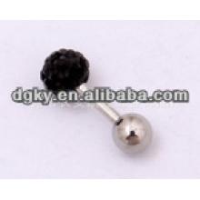Pedra colorida de aço inoxidável corpo jóias orelha piercing