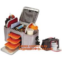Grand doux isolée pique-nique sac isotherme pour Bright Orange couleur, voiture, Camping, épicerie, emballage alimentaire isolée b refroidisseur en aluminium