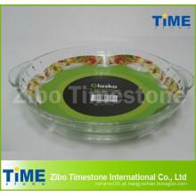 Prato de cozimento de vidro redondo borosilicato de 2,5L