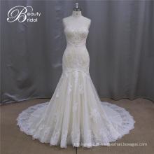 Qualidade fina Appliqued A linha Champagne vestidos de noiva
