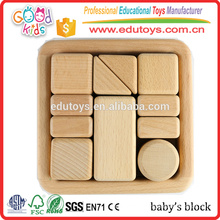 11pc Top Grade Beech Wood Baby Block Toy, Montessori Inspired Sensory Kids Block Toy