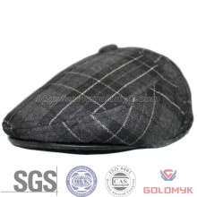 Traditional Style Irish Cap Made by Checked Pattern Fabric with Top Button