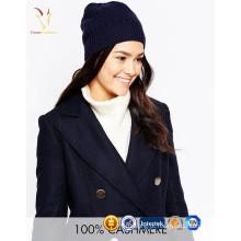Gorro de cashmere feminino 100% gorro de malha no inverno