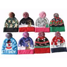 Рождество xmas унисекс вязаная мигающий блеск шляпа Шапочка (HW144)