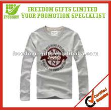 Top Quaity 100% algodão manga longa homem t-shirt