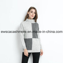 Turtle Neck Women Pure Cashmere Sweater with DOT Yarn