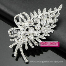 custom made vintage anniversary brilliant crystal leafy brooch