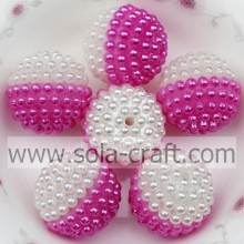 Brilliant Rose Color Acrylic Round Pearl For Party Decoration 19MM