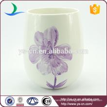 YSwb0010-01 Flower Decal cerâmica recipiente de lixo de banho fabricante