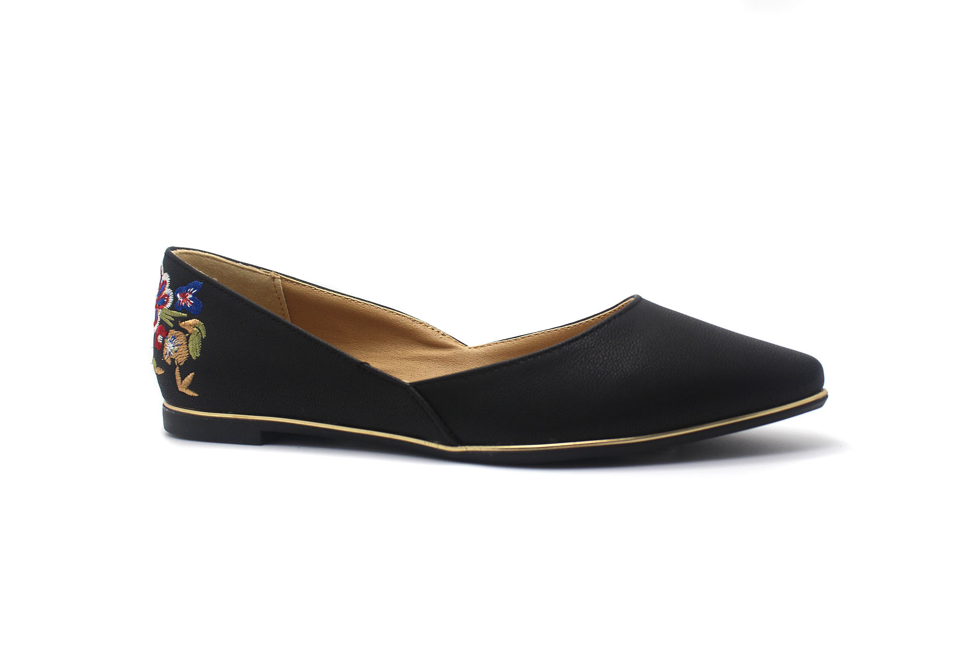 Poity toe flat shoes with embroidery elements