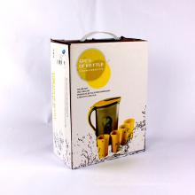 Custom напечатаны картонные бумажная коробка для бутылки с пластиковой ручкой