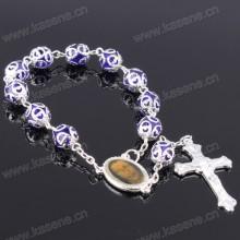 Prayer Beads Bracelet with Cross for Religious Silver Rosary Bracelet Bangle
