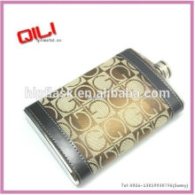 thermal transfer printing leather wrapped dunhill hip flask with customized logo