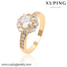 13816-Xuping Atacado Rodada CZ Anel Branco Diamante Ouro 18k Anel