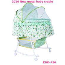 2016 novo desigh metal swing cama baby berço TC tecido com mosquiteiro