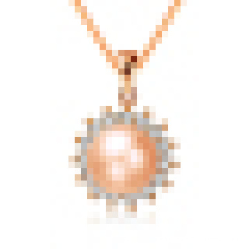 Collar colgante en forma de sol perla natural de mujer con cadena