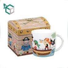 Creative design treasure box shape colorful printing mug gift box with insert