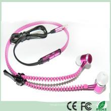 Elegante design metal in-ear fone de ouvido estéreo fone de ouvido com zíper (k-916)