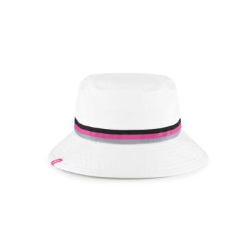 woven band suncut cotton twill white bucket cap