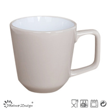 Tasse en grès de 12 oz à l'intérieur blanc extérieur gris avec poignée carrée