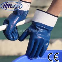 Luvas de segurança industrial NMSAFETY azul luvas de trabalho pesado de segurança revestida de nitrilo