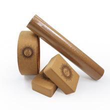 Yugland Eco Friendly Gym Fitness Rubber Cork Yoga Mat and Cork Yoga Block Set