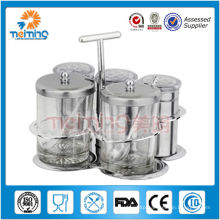 5pcs glass rotation food storage cruet set