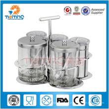 5pcs conjunto de galheteiro de armazenamento de rotação de alimentos de vidro