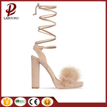 high heel sweet girl sandals with fur