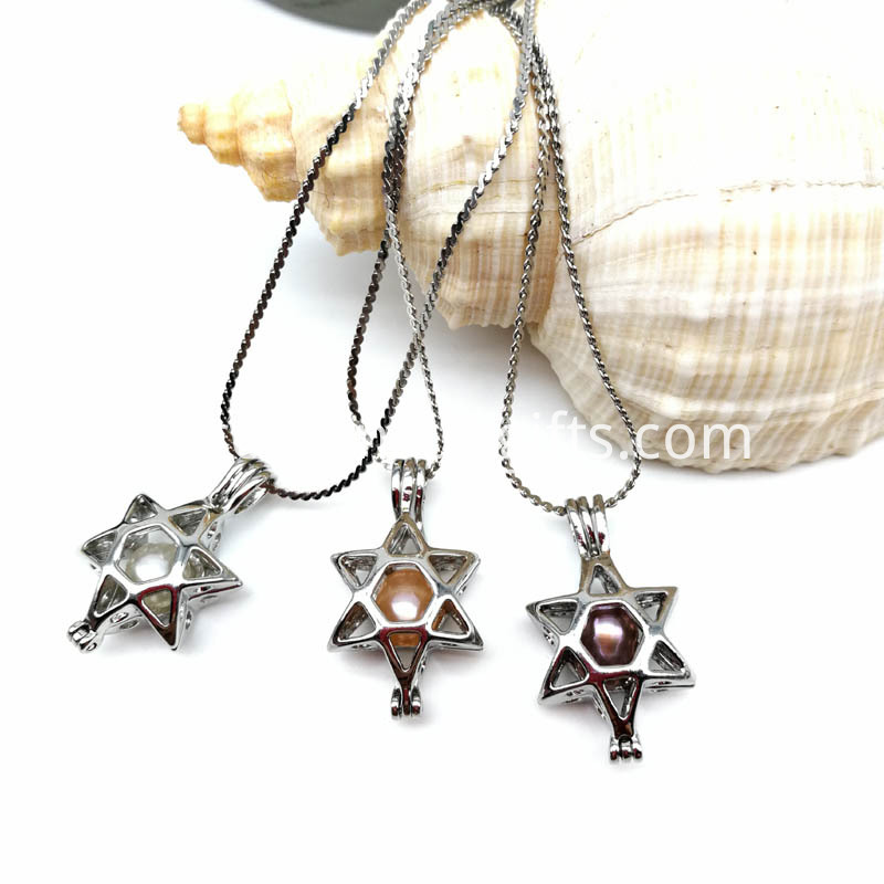 Star Pearl Cage Pendant Necklace