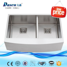Simple Design Farmhouse Stainless Steel Double Bowl Used Apron Front Kitchen Handmade Sink