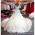 Elegante longo vestidos de casamento floral 2018 azul longo vestido de casamento da mulher V pescoço vestido de noiva