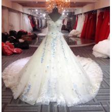 Élégant Robes Longues De Mariage Floral 2018 Bleu Longue Femme Robe De Mariage V Cou Robe De Mariée