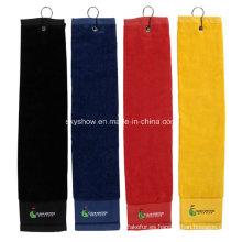Toalla de golf 100% algodón con logotipo bordado (SST1016)