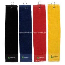 100% coton personnalisé serviette de golf avec crochet (SST1001)